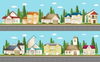 reeks stedelijke huizen langs de straat vector