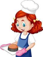 chef-kok meisje dragen chef-kok hoed met bakplaat