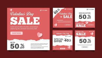 set van valentijnsdag verkoop banner promotie, kortingsmarketing voor sociale media post sjabloonverzameling. webbanner reclame-ontwerp