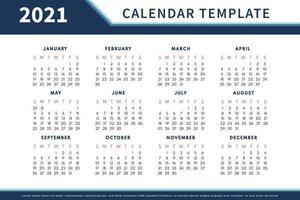abstracte kalenderlay-out voor 2021 kalenderontwerpsjabloon. week begint op zondag. ontwerp met één pagina kalender 2021 vector