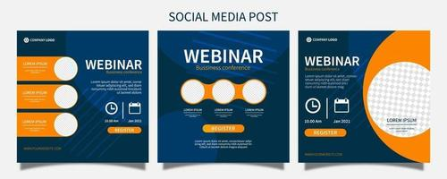 webinar social media post sjabloon conceptontwerp instellen. online marketing promotie banner ontwerp vector i