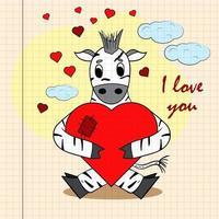 kleur kinderen illustratie met kleine zebra knuffelen hart vector