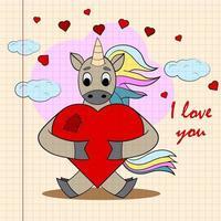 kinder illustratie met kleine eenhoorn knuffelen hart met ik hou van jou vector