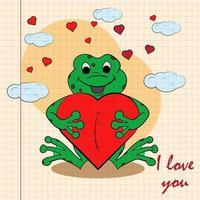 kleur kinder illustratie met kleine kikker knuffelen hart met ik hou van je getekend op een notitieboekje in de doos vector