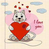 kleur kinderen illustratie met kleine kitten knuffelen hart met ik hou van jou vector
