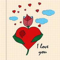 kleur kinder illustratie kleine bloem met hart met ik hou van je getekend op een notitieboekje in de doos vector
