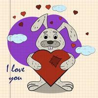 kleur kinderen illustratie met kleine konijn knuffelen hart met ik hou van jou vector