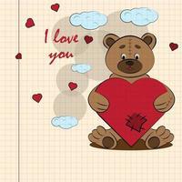 kinder illustratie met kleine beer knuffelen hart met ik hou van je getekend op een notitieboekje in de doos vector