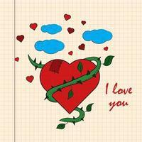 kleur kinder illustratie hart gevlochten wijnstok met ik hou van je getekend op een notitieboekje in de doos vector