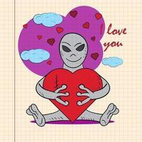 kleur kinderen illustratie met kleine alien knuffelen hart met ik hou van je getekend op een notitieboekje in de doos vector