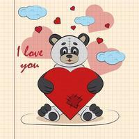 kinder illustratie met kleine panda knuffelen hart met ik hou van jou vector