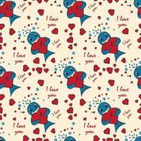 kleur kinderen illustratie met kleine walvis knuffels hart met ik hou van jou vector