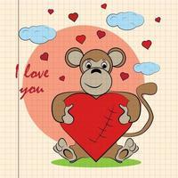 kleur kinderen illustratie met kleine aap knuffelen hart met ik hou van jou vector