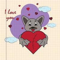 kleur kinder illustratie met kleine vleermuis knuffelen hart met ik hou van je getekend op een notitieboekje in de doos vector