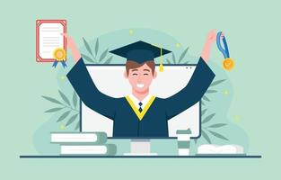 een man die het diploma van het afstuderen met certificaat viert vector