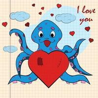 kinder illustratie met kleine octopus knuffelen hart met ik hou van jou vector