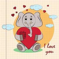 kleur kinderen illustratie met kleine olifant knuffelen hart met ik hou van jou vector