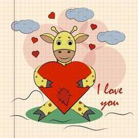 kleur kinderen illustratie met kleine giraf knuffelen hart met ik hou van jou vector
