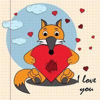 kleur kinderen illustratie met kleine vos knuffelen hart vector