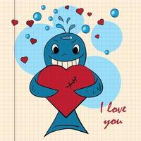 kleur kinderen illustratie met kleine walvis knuffelen hart vector