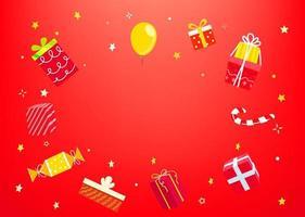 vakantieconcept met geschenkdozen. frame voor uitnodiging vector