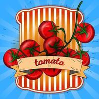 label illustratie van een takje tomaten vector