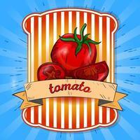 label illustratie van een hele tomaat en in stukjes gesneden vector