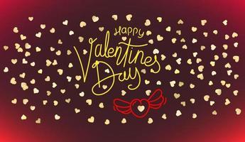 gelukkige Valentijnsdag wenskaart. rood hart vormen en kalligrafische inscriptie vector