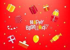 gelukkige verjaardag concept met geschenkdozen vector