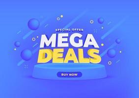 mega deals verkoop banner achtergrond. vector