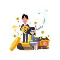 zakenman met bitcoins. vrouwen die op laptop werken. cryptocurrency-grafiek en grafiek op achtergrond vector