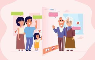 familiegesprek met oude ouders door middel van videogesprekken.