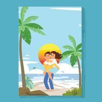 gelukkig paar in meeliften op het strand