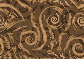 voorraad naadloze vector patroon van bruin gescheurde lijnen en spiralen op een donkere achtergrond.