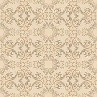 naadloze vectortextuur van bloemen en abstracte ronde crèmekleurige elementen op een perzikachtergrond. vector