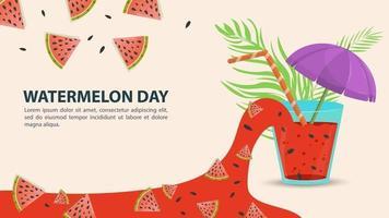 watermeloen dag ontwerp met watermeloen sap vector