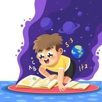 jongen opgewonden om uit zijn boek te studeren vector