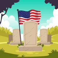 veteraan begraafplaats gedenkteken met Amerikaanse vlag vector