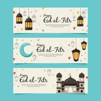 handgetekende eid al-fitr-bannerset vector