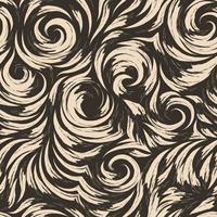 naadloze vector beige patroon van vloeiende lijnen in de vorm van cirkels en spiralen. bruine textuur voor het afwerken van stoffen of inpakpapier op een donkere achtergrond. abstract patroon.