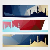 stijlvolle set ramadan headers vector