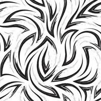 naadloze zwart-wit vector patroon van hoeken en vloeiende lijnen. textuur van penseelstreken op een witte achtergrond.