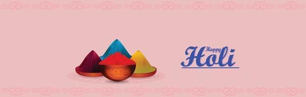 gelukkige holi platte ontwerp banner of koptekst vector