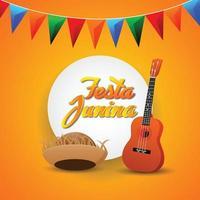 festa junina uitnodigingskaarten met gitaar en papieren lantaarn en achtergrond vector