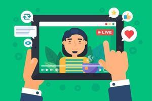 Aziatische mannelijke web streamer concept illustratie vector