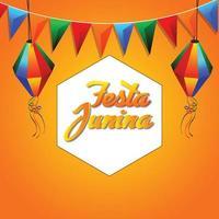 festa junina viering achtergrond met kleurrijke partij vlag nad papieren lantaarn vector