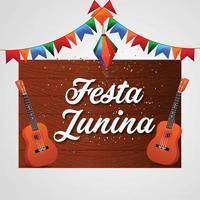 vectorillustratie van festa junina achtergrond met kleurrijke partij vlag met gitaar vector