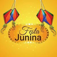 festa junina vectorillustratie van gitaar en kleurrijke vlag en papieren lantaarn vector