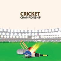crickettoernooi met creatieve uitrusting van cricket met stadionachtergrond vector