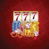 casino grote win luxe uitnodigingsbanner met creatieve pokerslot, gouden munt, casinofiches en gokkast. vector